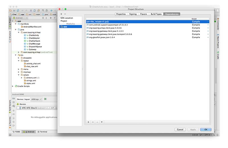 Android Studio module dependencies.