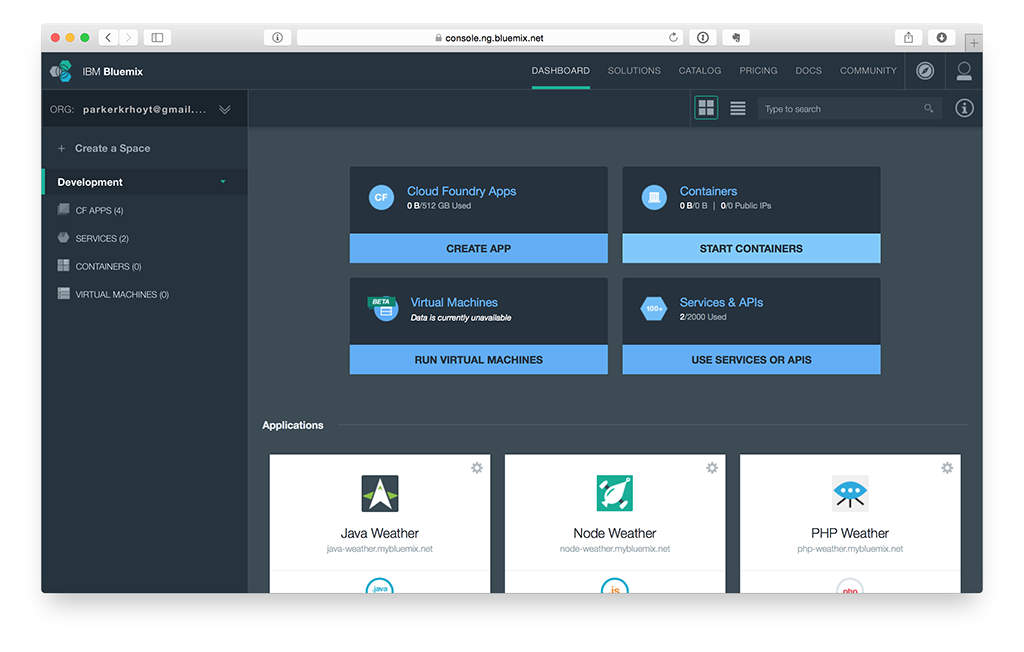 Bluemix Dashboard