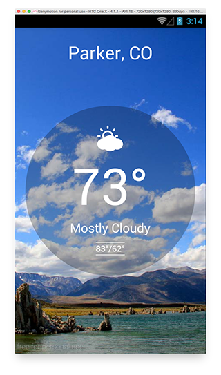 Weather application on Android.