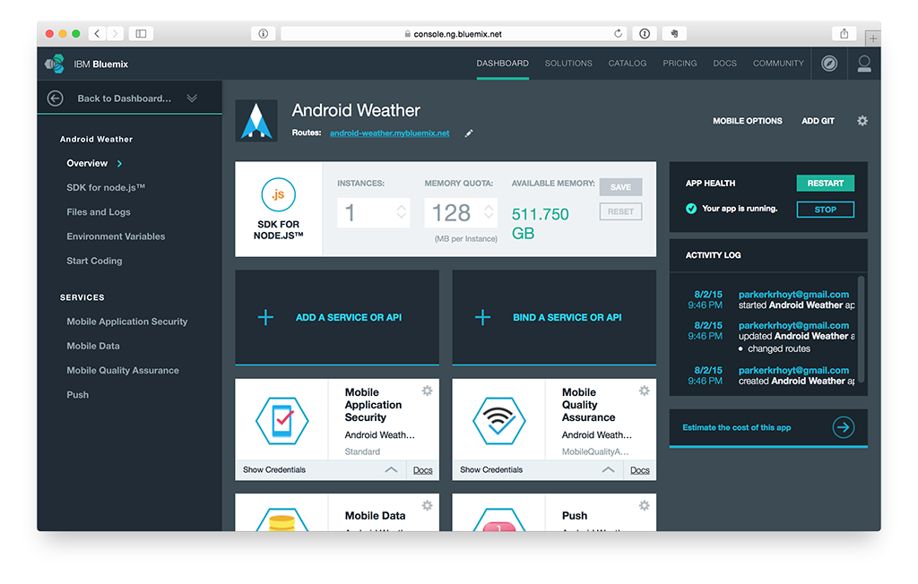 IBM Bluemix mobile application with services.