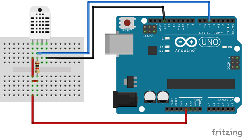 DHT22 connected to Arduino.