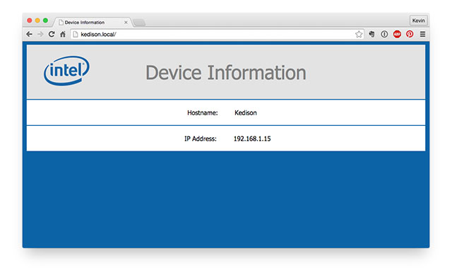 Intel Edison device information page.