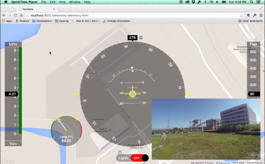 Web browser tracking the flight in real-time.