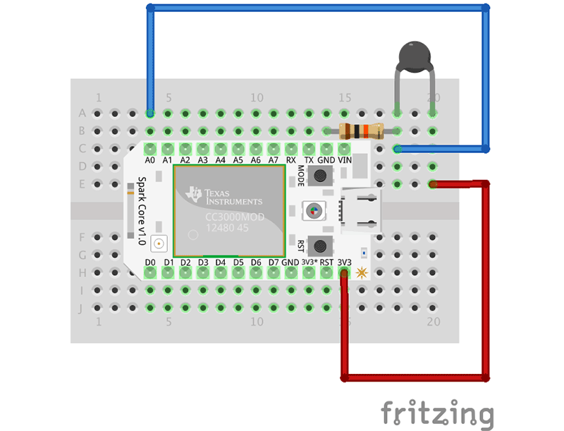 The Spark Core is so small that it fits entirely on a mini breadboard.