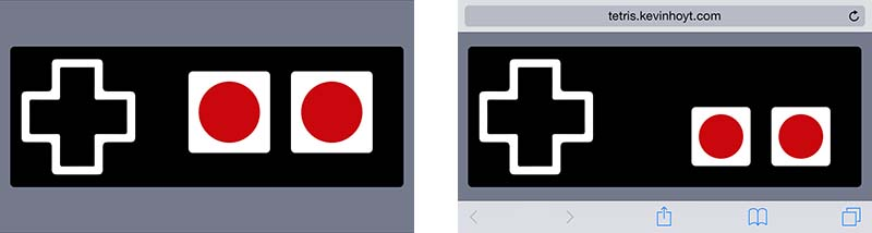 Tetris virtual controller with and without Safari interference.