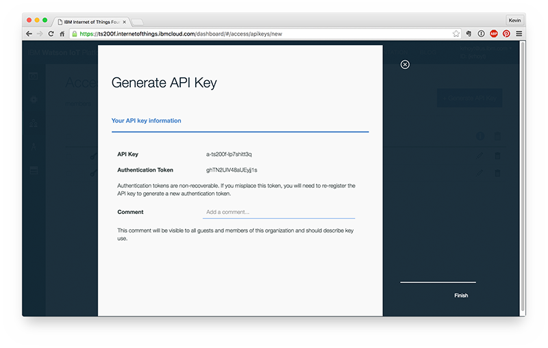 Get an API key and authentication token from Watson IoT.