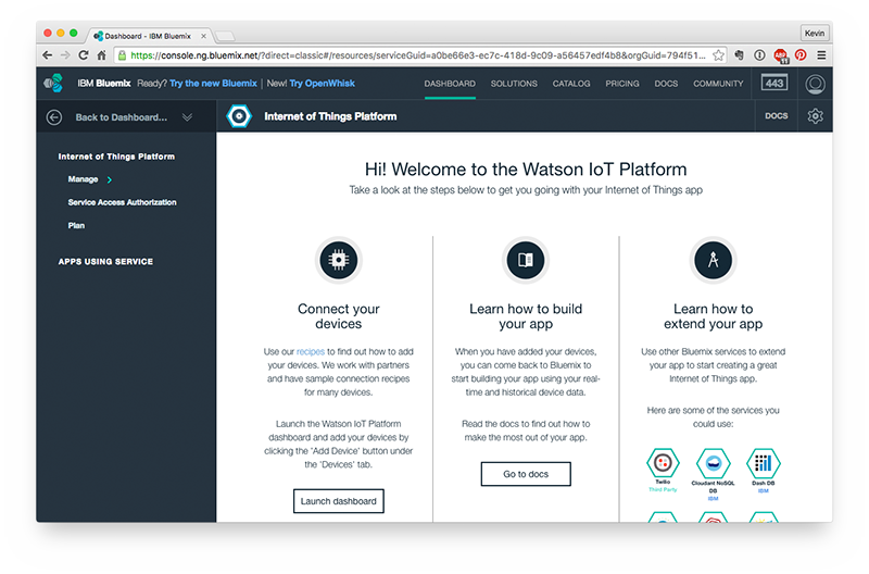 IoT Platform inside the Bluemix dashboard.