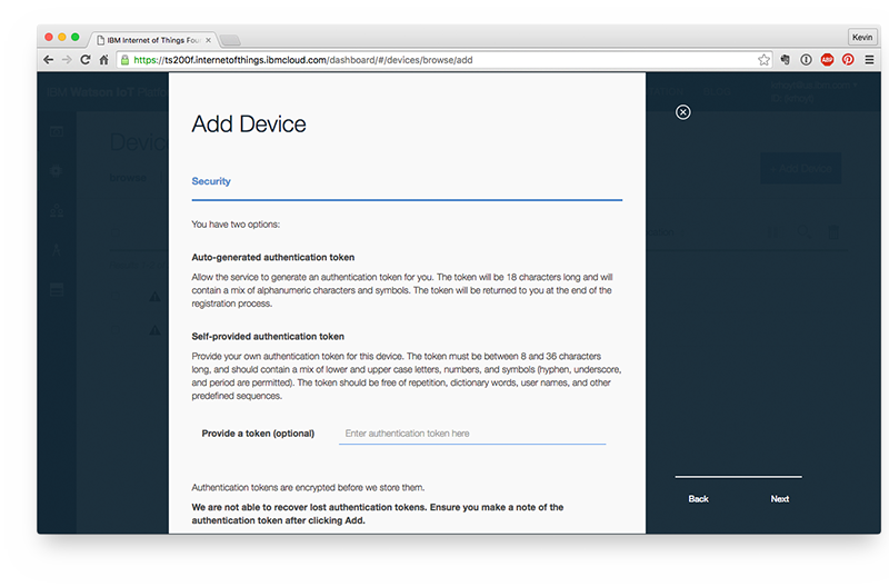 Watson IoT device instance security settings.